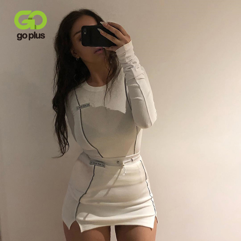 GOPLUS Women 39 s Tracksuit Suit Autumn Streetwear Reflective Striped Club Outfits 2 Piece Set Women Chandal Mujer 2 Piezas C8184 in Women 39 s Sets from Women 39 s Clothing