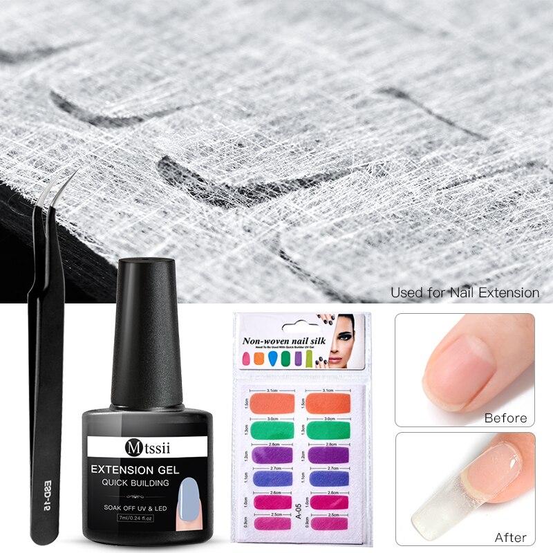 Mtssii 7ml Quick Fiberglass Nail Extension Set Clear Acryl UV Gel Varnish Manicure Building Silk Nail Form Gel Polish