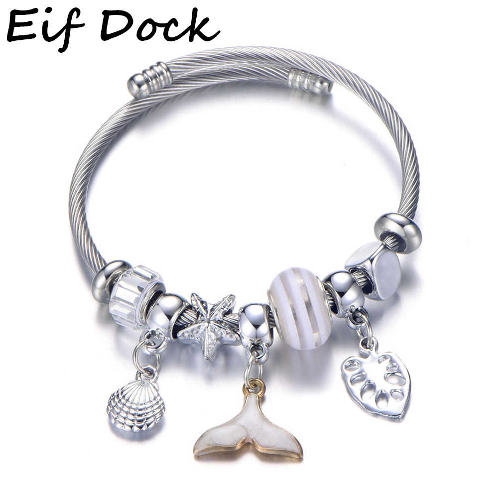 New Fashion Spring Wire Line Mermaid Tail Shell Beads Charm Bracelet Stainless Steel Diy Brand Bracelet Bangles for Women