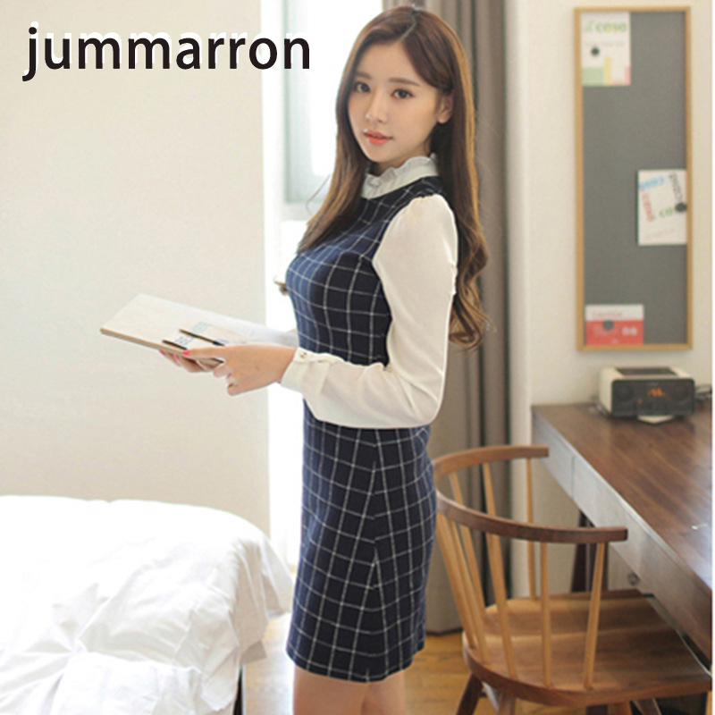 jummarron spring summer 2020 new sunscreen <font><b>dress</b></font> O-Neck breathable trim waist long sleeve splice base <font><b>dress</b></font> Preppy Style Empiry image