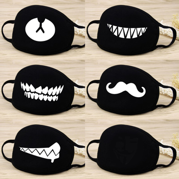 10pcs/lot Men Women Kpop Mask Winter Mask Cute Teeth Smile Bear Mask Creative Cotton Cool Travel Mask Decorative Black Props