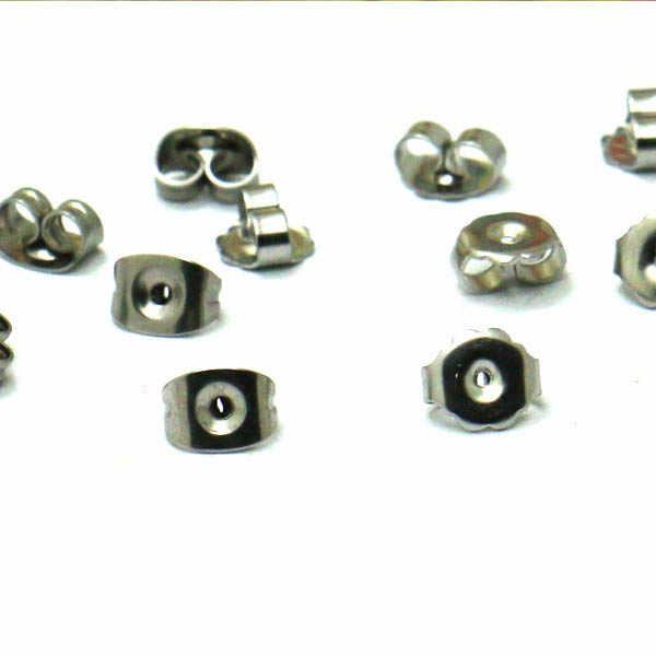 5X4 Mm Stainless Steel Kupu-kupu Anting-Anting Punggung Telinga Nut Telinga Kembali Stopper Keselamatan Temuan 200 Potongan/Lot