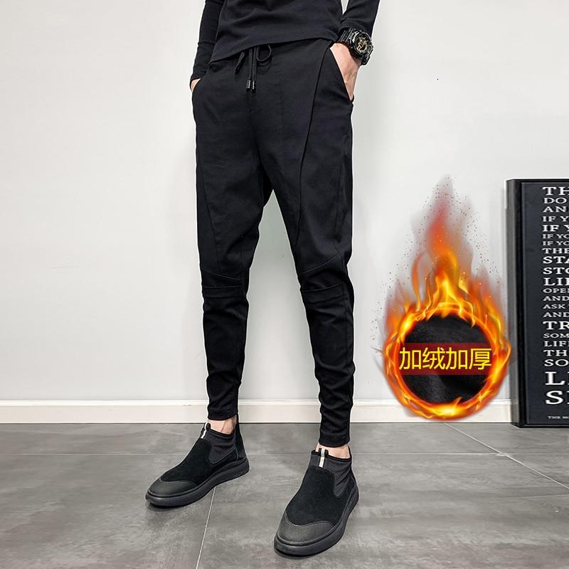 Winter Plus Velvet Thick Pants Men's Stretch Slim Warm Fashion Harlan Pants Man Streetwear Wild Hip Hop Tight Pants Male