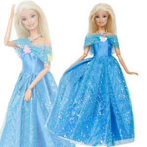 1 Pcs Fairy Tale Dress Copy Cinderella Princess Party Wear Blue Gown Cute Butterfly Clothes For Barbie Doll Accessories Kids Toy(China)