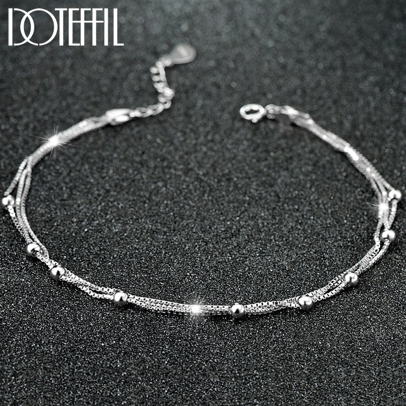 DOTEFFIL 925 Sterling Silver Box Chain 3mm Bead Anklet For Women Wedding Engagement Party Fashion Charm Jewelry