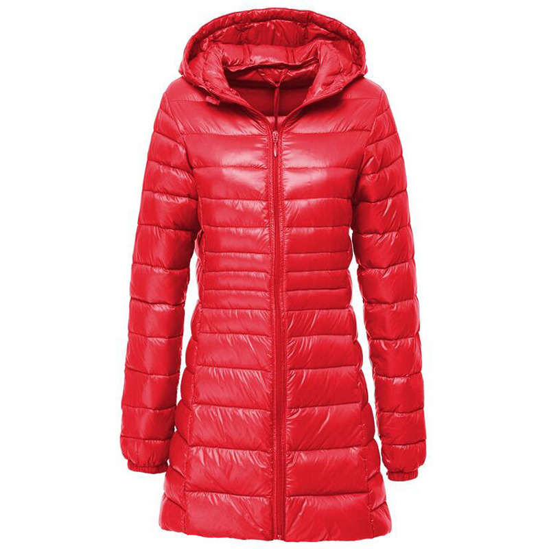Plus Size Down Jacket Women Spring Autumn Winter Warm Duck Coats Women's Long Hooded Thin Lightweight Jackets Lady Down Clothes