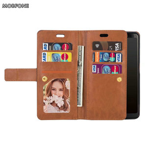 Image 2 - Folio Book Leather Wallet Case on Oneplus 5T Retro Diary Flip Cover for Oneplus5T 5 T Zipper 9 Card Slots Stand Fundas Cases