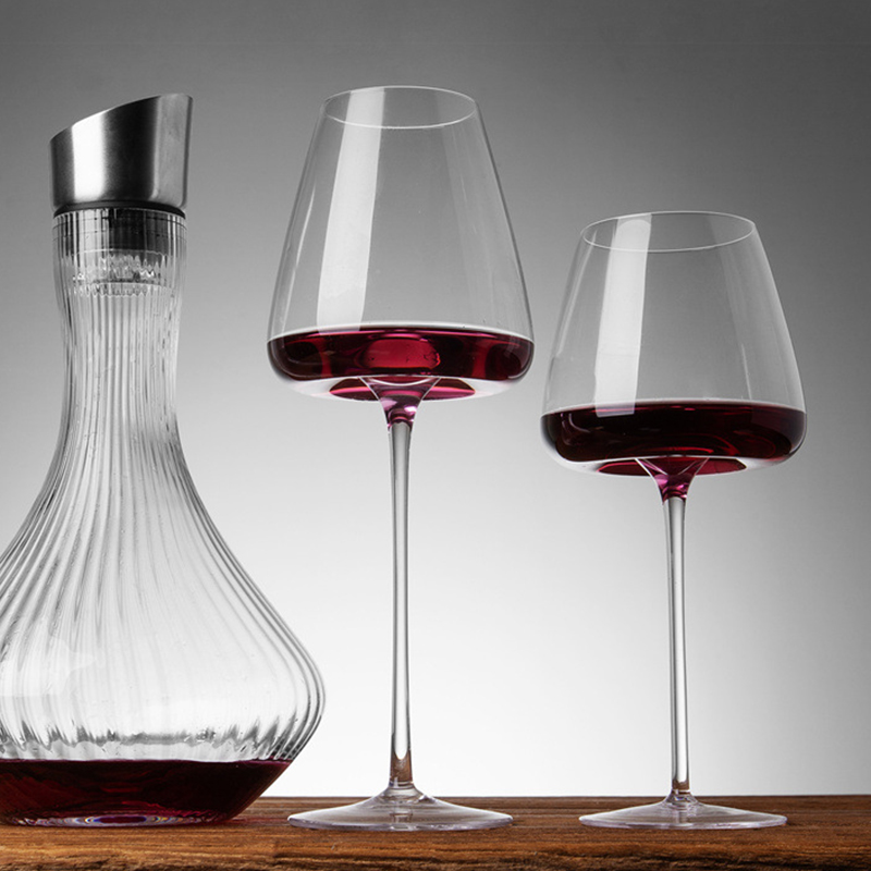 2PCS Classy Burgundy Bordeaux Goblet Premium Crystal Hand Blown Tasting Cup Glasses for Wedding Anniversary Christmas Gift
