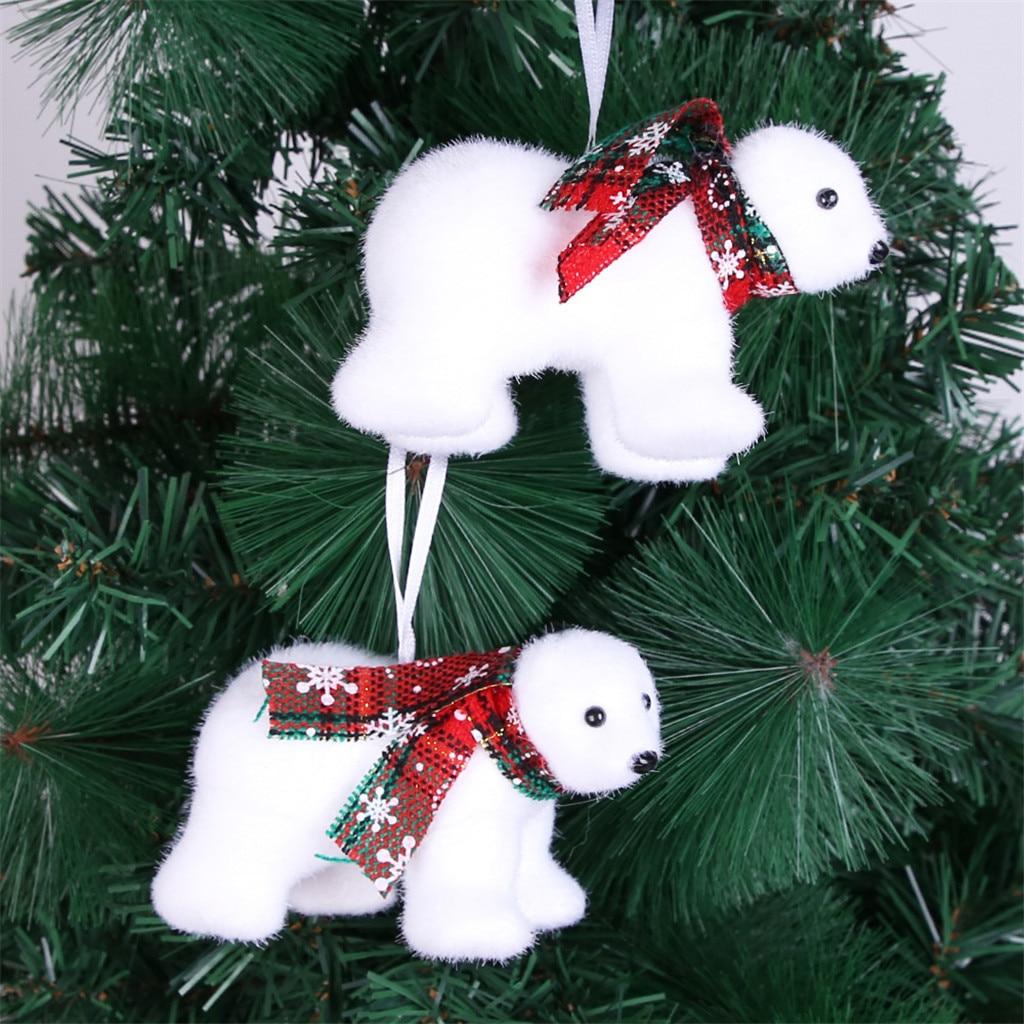 Oso Polar Blanco pequeño árbol de Navidad Decoración