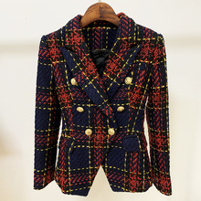 Newest Tweed Gold Line Plaid Blazer Classic Double Breasted Button Slim Red Wool
