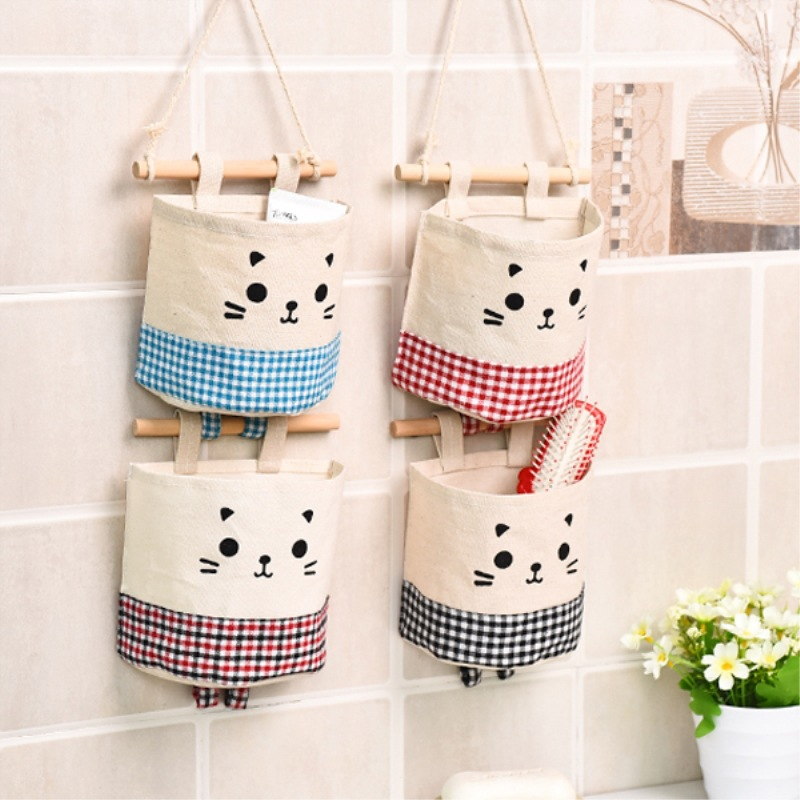 Dozzlor Cotton Linen Plaid Hanging Bag Cute Cartoon Cloth Storage Pocket Wall Children Toy Storage Hanging Organizer Behind Door