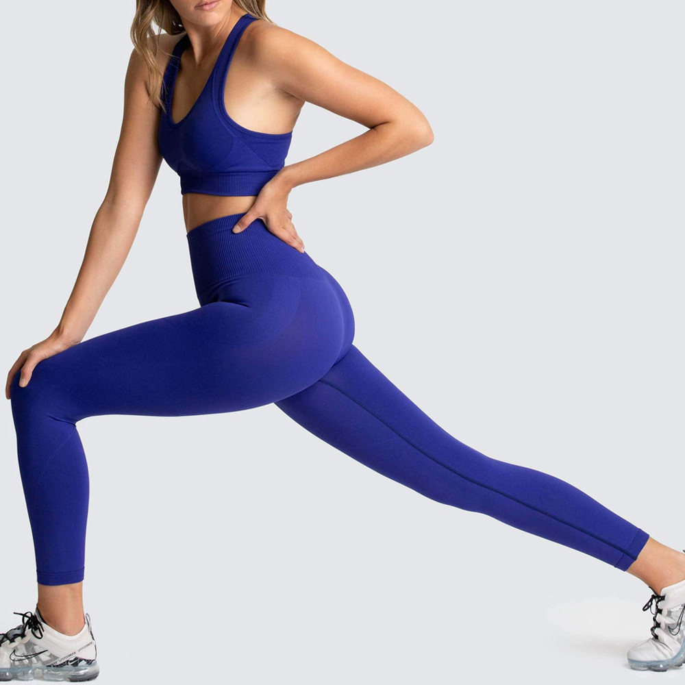2 Pcs Set Women New Seamless Yoga Sets Fitness Sports Suits Breathable Soft Gym Clothes Running