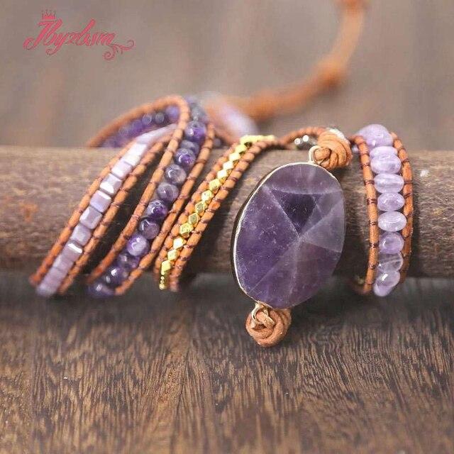 Unikatowy mieszany kamień naturalny urok 5 nici bransoletki moda Handmade tkane Wrap bransoletka Boho skórzana bransoletka dla kobiet prezent
