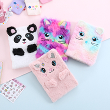 Student Cartoon Fur Notebook With Lined PU Cute Diary Book For School Creative Animal Hardcover Notepad Girl Stationery Diary korean diary hard copybook notebook 86sheets look for deer creative notepad hardcover notebook school supplies