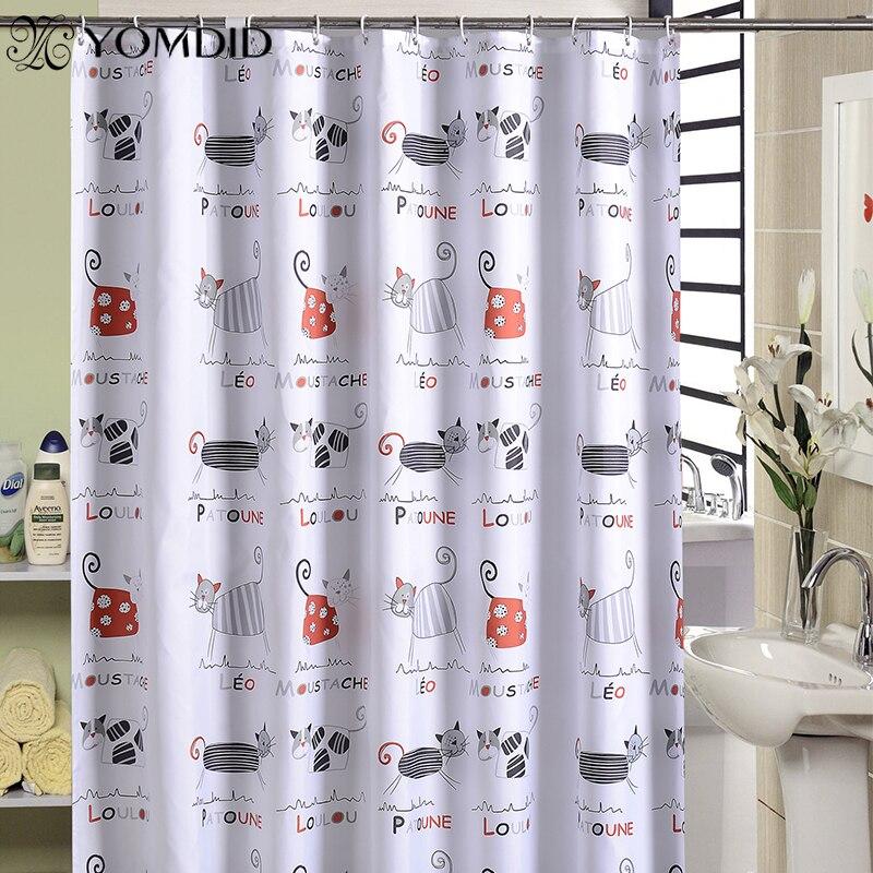 YOMDID de dibujos animados cortina de baño lindo gato patrón cortinas de ducha cuarto de baño impermeable gruesa tela de poliéster con 12 Uds ganchos