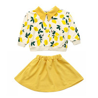 DFXD 2019 Fashion Fall Girls Clothing Sets Big Girls Long Sleeve Fruit Cardigan Coat+Tutu Skirt Two Piece Party Suit For 3 12Yrs