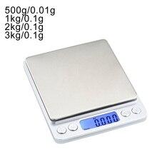 0,01/0,1 г точность ЖК-дисплей цифровые весы 500 г/1/2/3 кг мини электронные детские граммов Вес разновесы для Чай выпечки весы