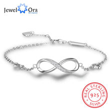 925 Sterling Silver Infinity Bracelets for Women Adjustable Friendship Bracelets & Bangles Wedding Gift Ideas(JewelOra BA102057)(China)