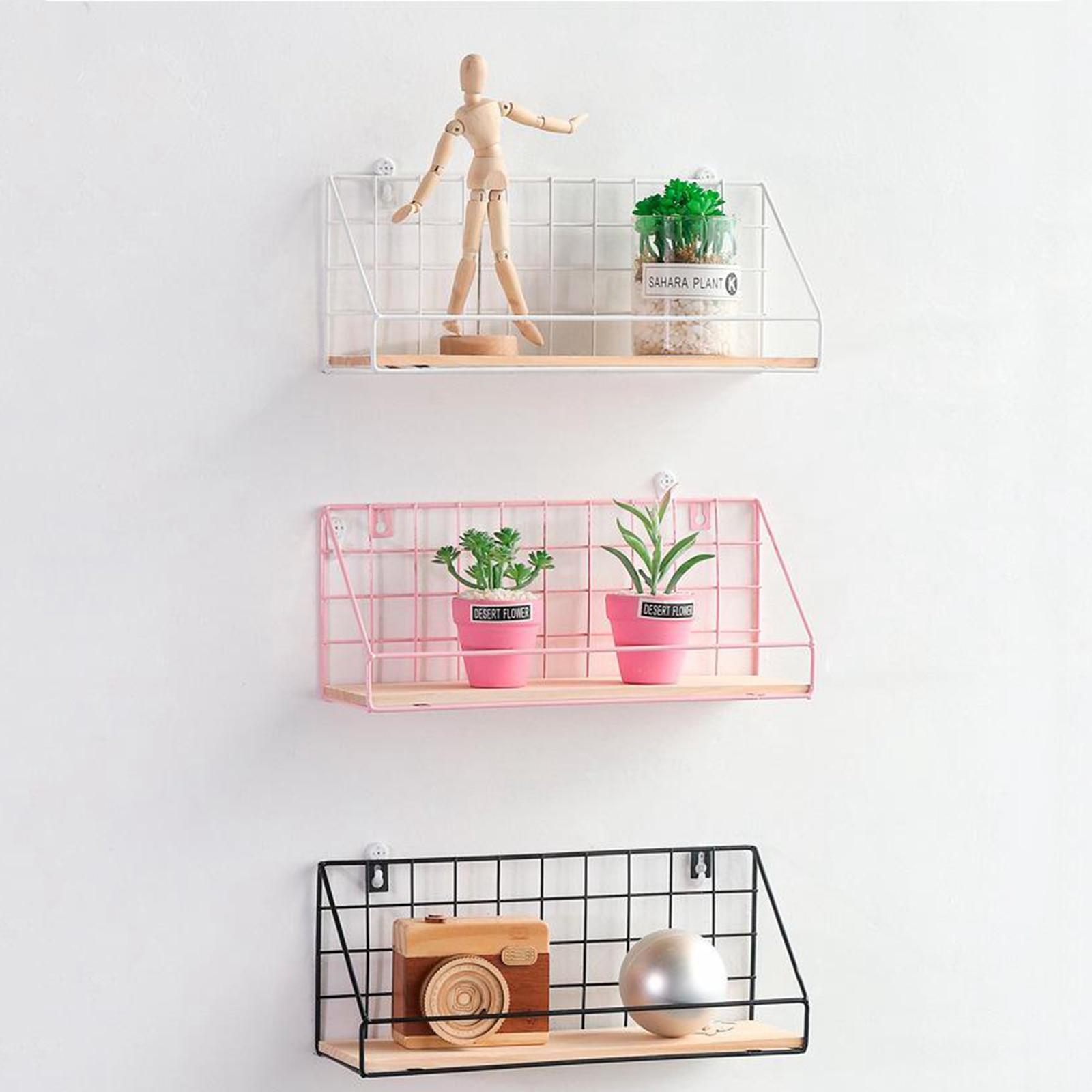 Nordic Wall Decoration Storage Shelf Vintage Metal Iron Wire Frame Storage Rack Decorative Wall Shelves
