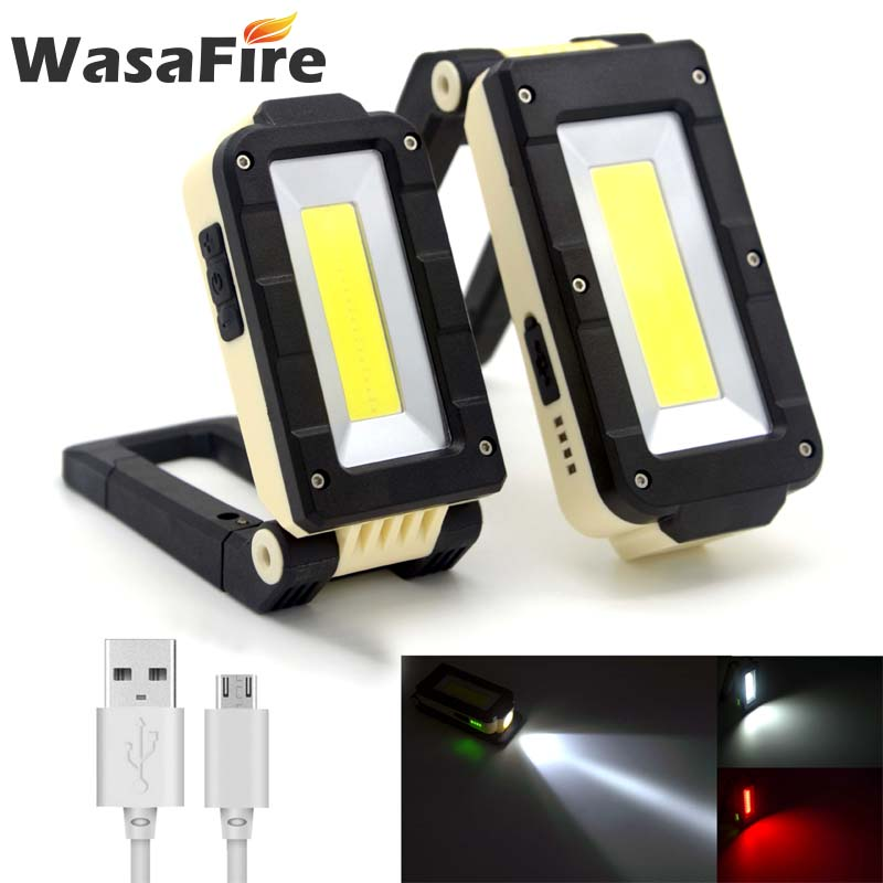 Portable COB+XPE LED Flashlight Torch USB Rechargeable LED Red And White Light Magnet Hook Work Lantern With Built-in Battery