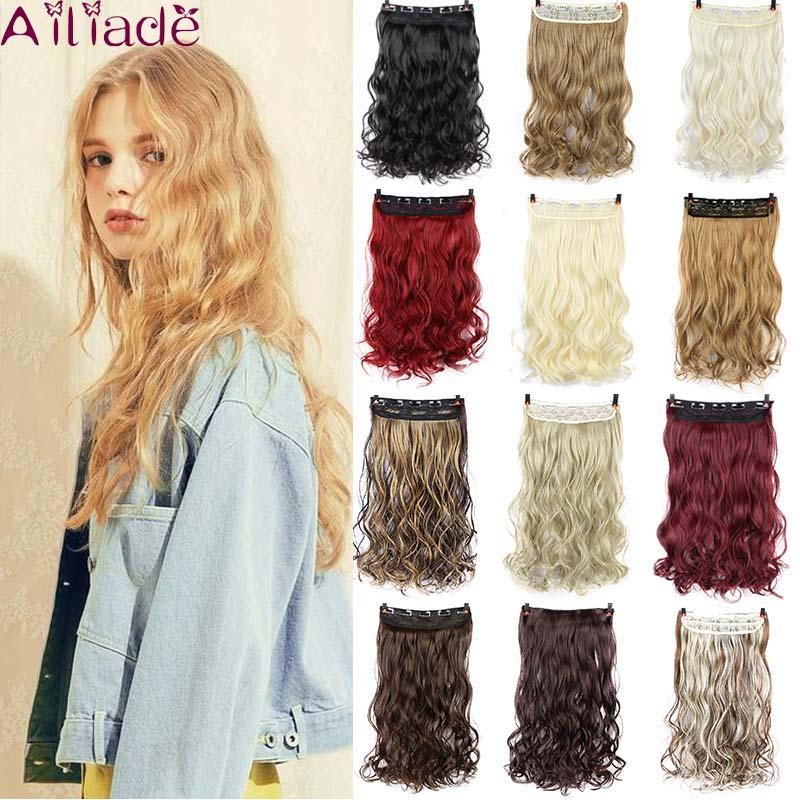 AILIADE длинные 5 заколок для наращивания волос, высокотемпературные синтетические натуральные волосы, волнистые волосы, белые, коричневые, кр...