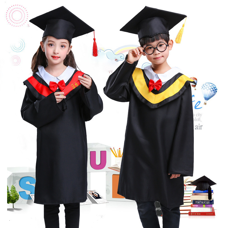 Children Students Graduation Uniform Kids Class Team Robe Doctor Bachelor Gown Girl Boy Roleplay Performance Costumes Party Wear