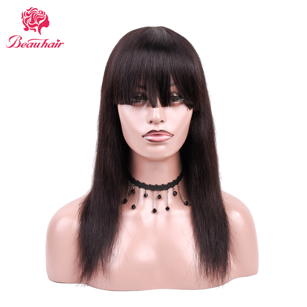 Brazilian Straight Human Hair Wigs With Thick Bangs Middle Length Silky Straight For 11.11 Hot Sale Wigs For Black White Women