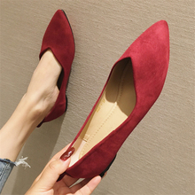 Loafers Flats Shallow Women Shoes Spring Pointed-Toe Autumn Fashion-Brand Flock Solid