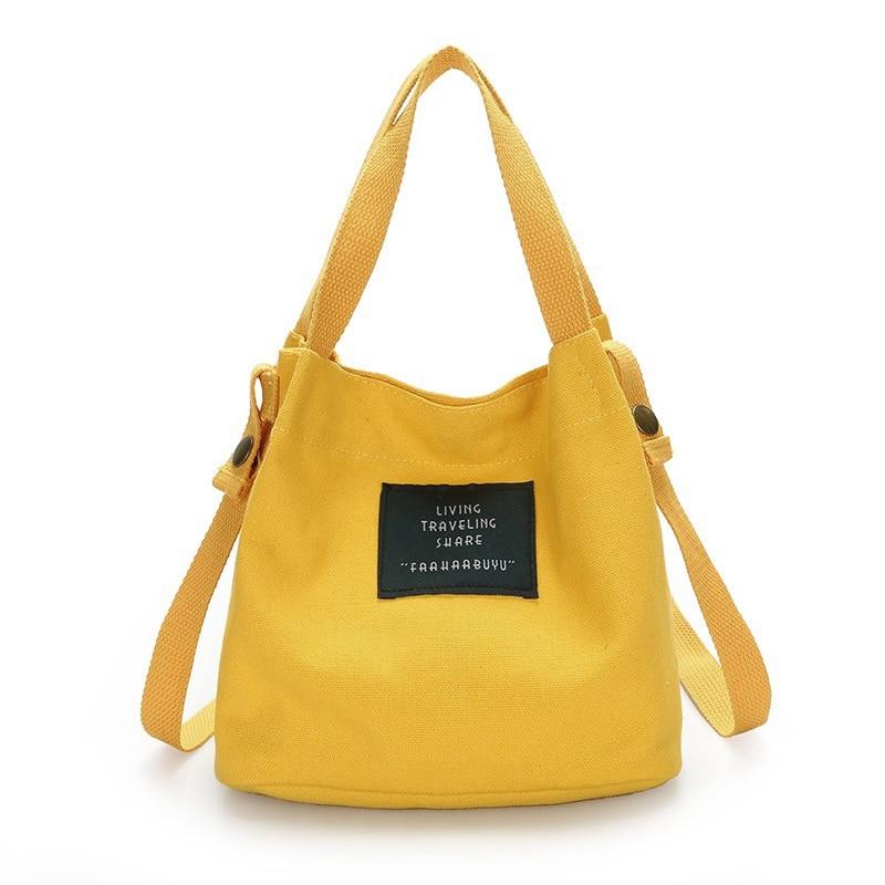 Fashion Women's Canvas Handbag Shoulder Bag Tote Purse Cute Travel Bucket Bag Yellow