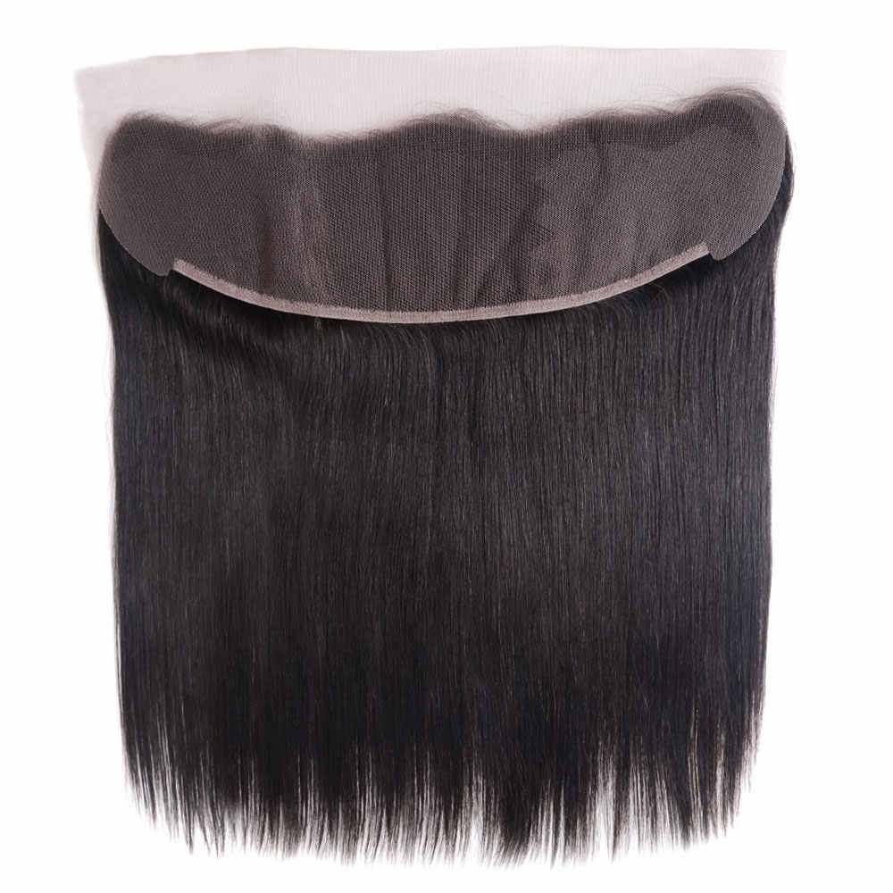 Brazilian Pre Plucked Straight 13x4 Inch Frontal Closure Remy Human Hair Invisible Ear To Ear Transparent Lace Frontal Closure