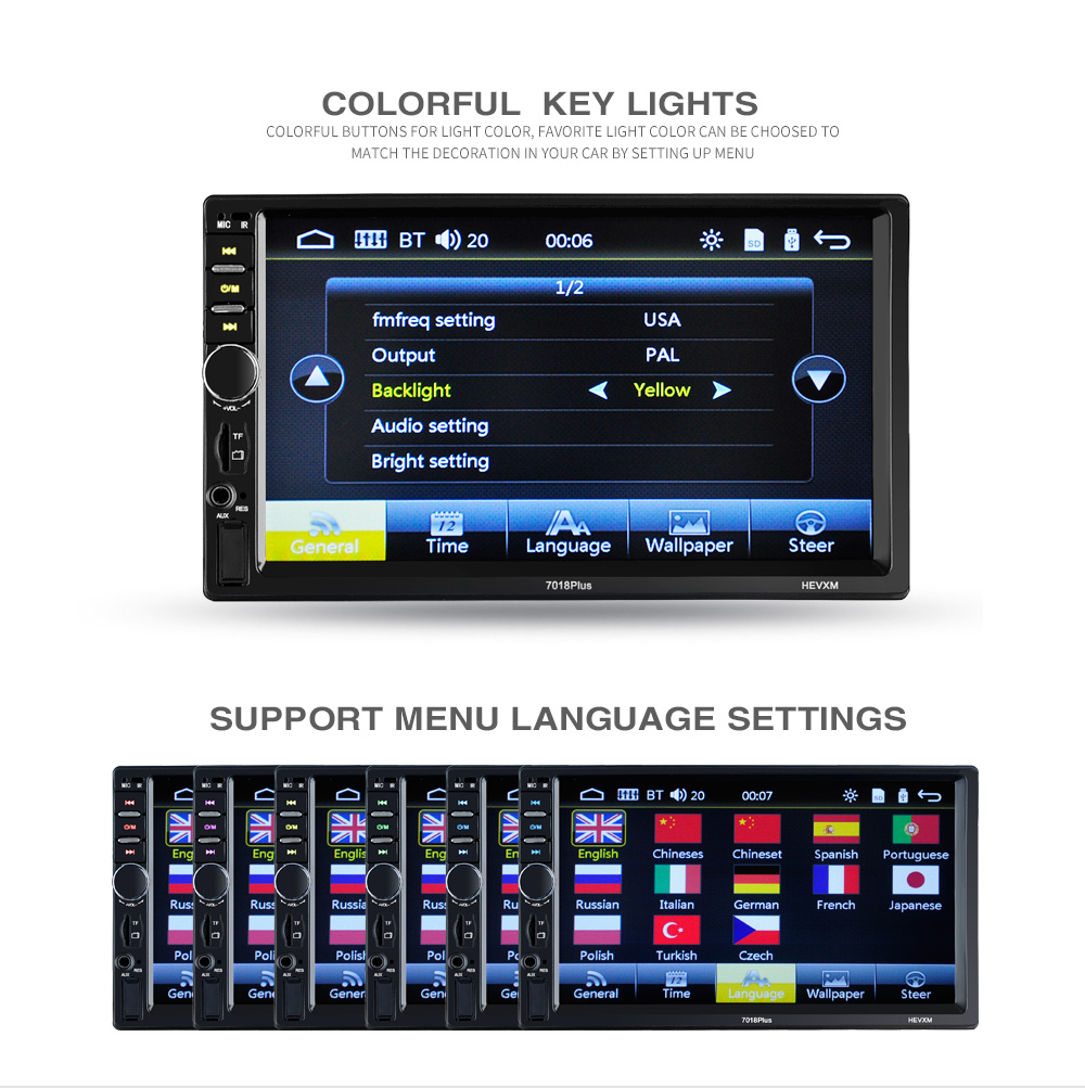 2 Din Car Radio 7inch Universal  Multimedia Player HD Bluetooth MP5 Media  TF FM 7018plus