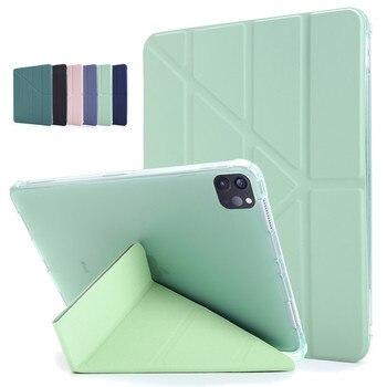 Funda bonita rosa y verde para iPad Pro 12 9, funda 3ª generación 2020 2018 Multi-plegable, soporte abatible para iPad Pro 12,9 12 9, funda trasera para Tablet