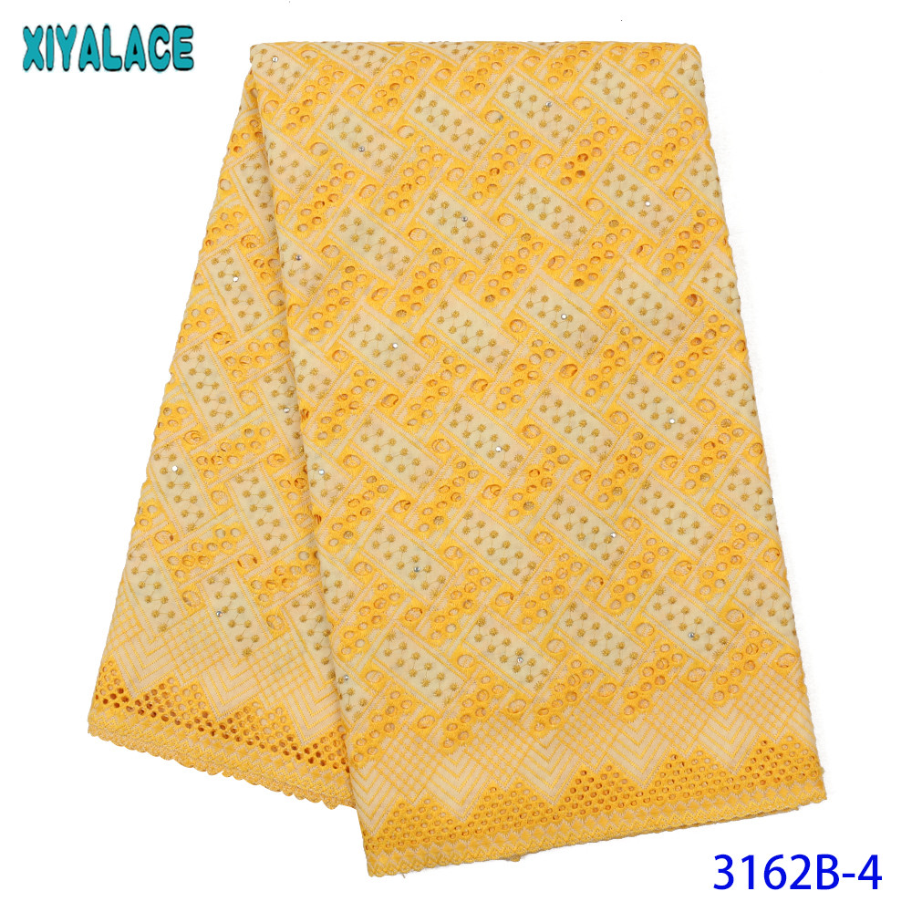 Swiss Lace Fabric High Quality Swiss Voile Lace New Dry Cotton Lace Fabrics With Stones Holes Design For Dresses KS3162B