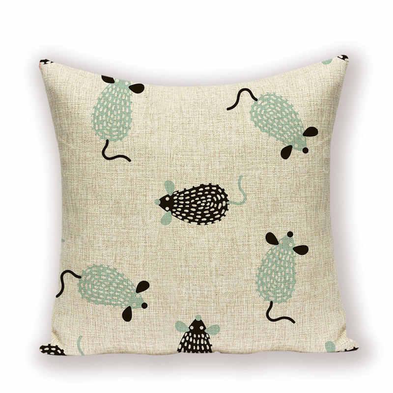 การ์ตูนสัตว์โยนหมอนเมาส์ม้าเบาะรองนั่งเด็ก Home Decor เตียงโซฟาหมอนน่ารักหมอนผ้าลินินกรณีกรณี