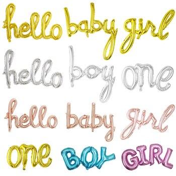 1 unidad oro rosa enlace de plata un niño niña Hola bebé Globos de letras de papel aluminio Baby Shower decoración de fiesta de cumpleaños Globos de aire suministros