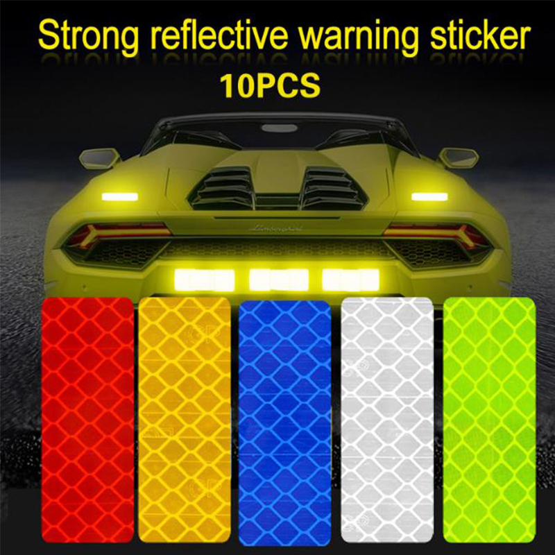 10 pcs Square Rectangle Car Safety Mark Decal Warning Tape Reflective Stickers For Bicycle Car Exterior Decoration Accessories