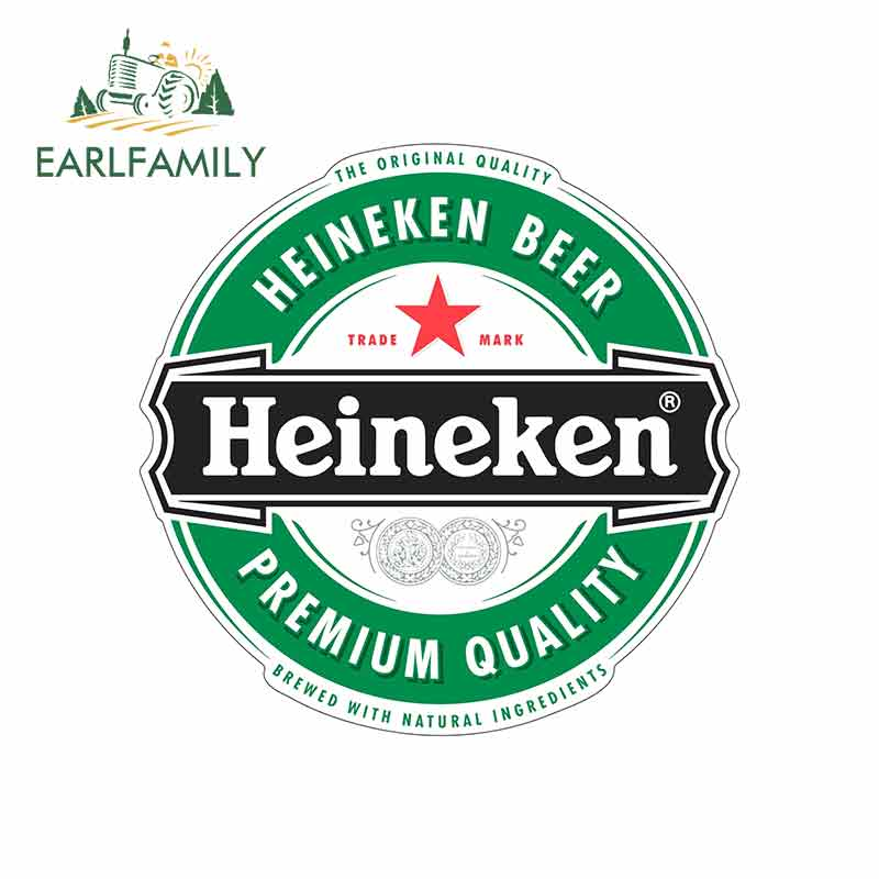 EARLFAMILY 13cm X 12.8cm For Heineken Beer Color Funny Car Stickers Vinyl Helmet JDM RV VAN Car Accessories Graphics Anime Logo