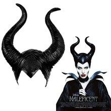 Maleficent:Mistress of Evil Mask Cosplay Props Headgear Unisex Halloween Angelina Jolie Black Queen Headwear Horns Hat