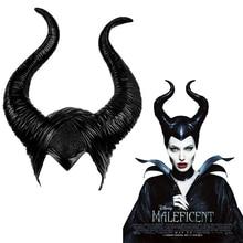 Maleficent: pani zła maska rekwizyty do Cosplay nakrycia głowy dla obu płci Halloween Angelina Jolie czarna królowa nakrycia głowy rogi kapelusz