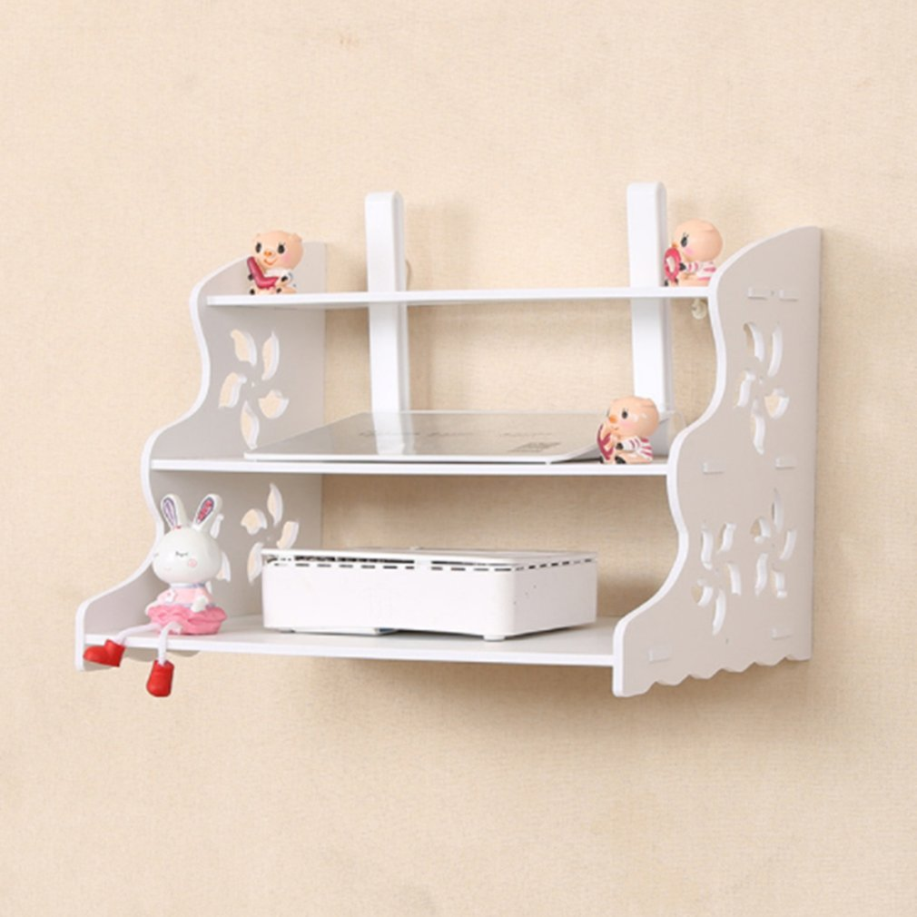 Set Top Box Frame Router Shelf StorageWaterproof Wood-Plastic Board Storage Wall CabinetLiving Room Office White