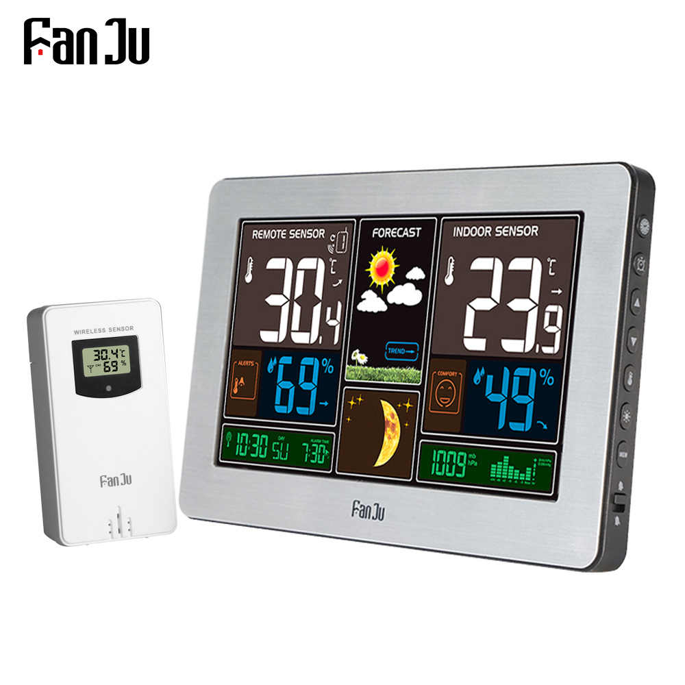 Fanju FJ3378 Wireless Weather Station Dinding Jam Digital Barometer Thermometer Hygrometer Sensor Colorful LCD Display