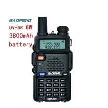 אמיתי 8w 3800mAh baofeng uv 5r עבור שתי דרך רדיו VHF UHF dual band נייד רדיו מכשיר קשר uv 5r