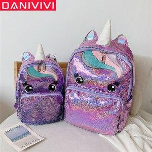 Image 1 - Cartable multicolore licorne pour enfants, sac à dos pour filles, sac décole à paillettes, sac décole pour adolescents