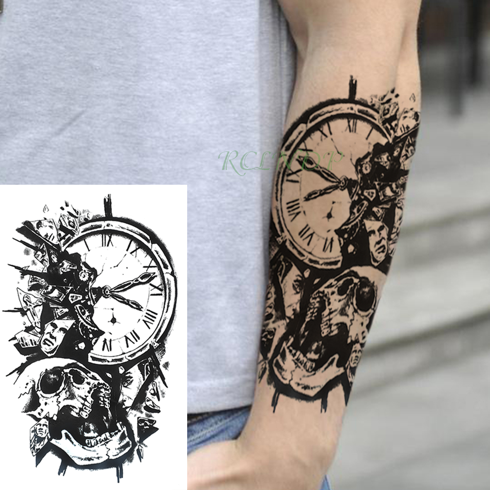Waterproof Temporary Tattoo Sticker Skull Head Clock Fake Tatto Flash Tatoo Back Leg Arm Belly Big Size For Women Girl Men