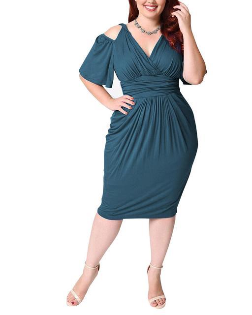 Summer Sexy Midi Dress For Fat Women Plus Size Vintage 4XL 5XL V Neck 4