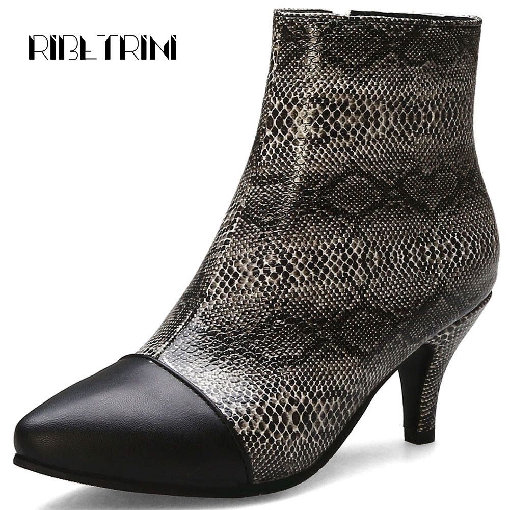 RIBETRINI Sexy Snakeskin Print High Top Ankle Boots For Women Spiked High Heel Shoes Woman Autumn Boots Big Size 33 48