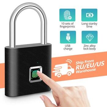 KERUI Waterproof USB Charging Fingerprint Lock Smart Padlock door lock 0.1sec Unlock Portable Anti-theft Fingerprint Lock Zinc 1
