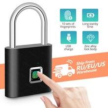 KERUI Waterproof USB Charging Fingerprint Lock Smart Padlock door lock 0.1sec Unlock Portable Anti-theft Fingerprint Lock Zinc