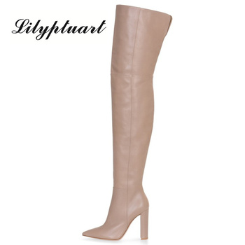 European and American thick heels fashion boots pointed toe side zipper high tube women's foreign trade block - discount item  50% OFF Women's Shoes