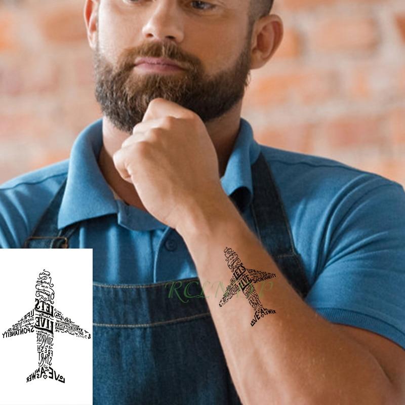 Waterproof Temporary Tattoo Sticker Letter Plane Cool Tatto Flash Tatoo Fake Tattoos For Kids Men Women